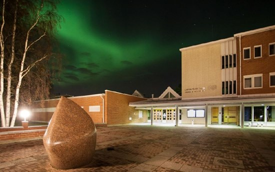 Northern Lights Above the University of Lapland Main Building