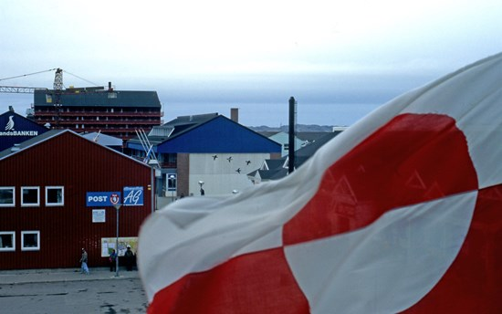 The Greenland flag in the capital Nuuk, Greenland