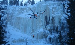 Rescue exercise in Koruoma chasm, Finnish Lapland