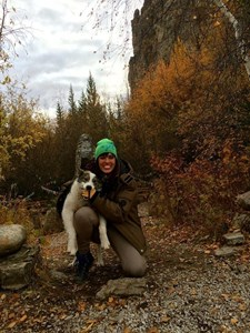 "With ""Behr Behr"" the husky at the Lena Pillars, Yakutsk, Russia"