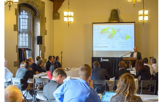 Lars Kullerud, President, University of the Arctic addresses the audience at TransAtlantic Science Week at Hart House