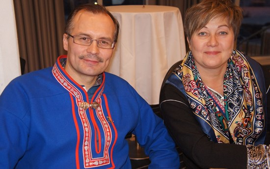 Klemet Erland Hætta, Mayor of Kautokeino municipality and leader of Avjuvarri Indigenous Region, and Jelena Porsanger, rector of Sami University College.
